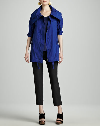 Eileen Fisher Weather-Resistant Jacket, Striped Linen A-Line Top & Washable-Crepe Ankle Pants