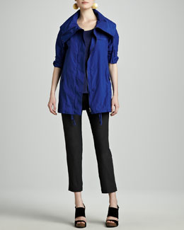 Eileen Fisher Weather-Resistant Jacket, Striped Linen A-Line Top & Washable-Crepe Slim Ankle Pants, Petite