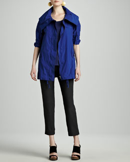 Eileen Fisher Weather-Resistant Jacket, Striped Linen A-Line Top & Washable-Crepe Ankle Pants, Women's