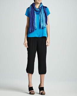 Eileen Fisher Charmeuse Boxy Top, Washable Silk Cropped Pants & Whisper Silk Wrap, Petite