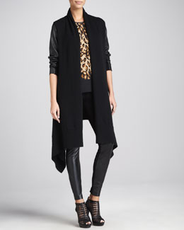 DKNY Leather-Sleeve Cozy Coat, Sleeveless Patchwork Blouse & Leggings with Leather-Front