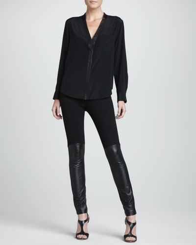 DKNY Leather-Placket Silk-Stretch Blouse & Leggings with Leather-Front