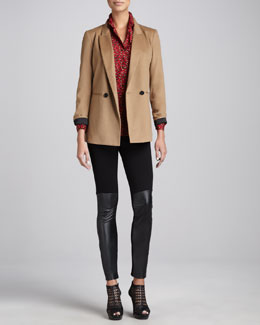 DKNY Double-Breasted Wool-Blend Jacket, Animal-Print Button-Front Blouse & Leggings with Leather-Front