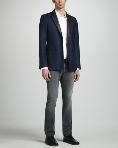 Versace Collection Leather-Collard Blazer, Basic Woven Shirt & Trend-Fit Denim Jeans