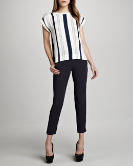 Theory Sorcha Striped Silk Top & Timba Polished Slim Pants