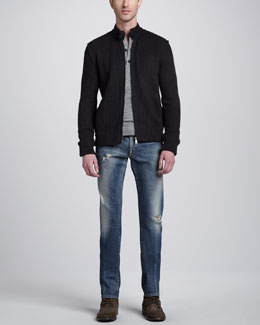 Dolce & Gabbana Ribbed Knit Zip-Front Sweater, Double-Layer Long-Sleeve Henley & Mid-Rise Distressed Denim