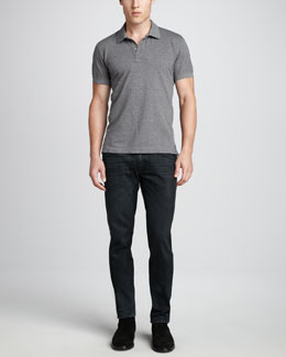 Dolce & Gabbana Short-Sleeve Logo Pique Polo & Dark Gray Jeans