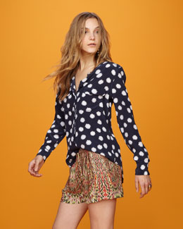 Equipment Daisy-Print Blouse & Pleated-Front Abstract Shorts
