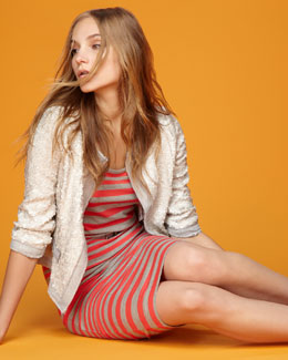 Milly Sequined Jacket & Striped Knit Dress