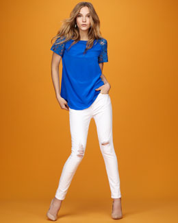 Rebecca Taylor Silk and Lace Tee & Reserve Distressed Slim Jeans