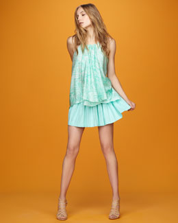 Milly Gathered Chiffon Tank & Pleated Skirt
