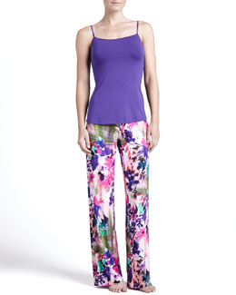 Cosabella Talco Long Camisole & Tropical-Print Lounge Pants