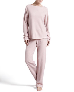 Cosabella Ella Shimmer Fleece Top & Fold-Over Pants