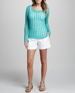 Milly Katelyn Ladder-Stitch Sweater & Relaxed Twill Shorts