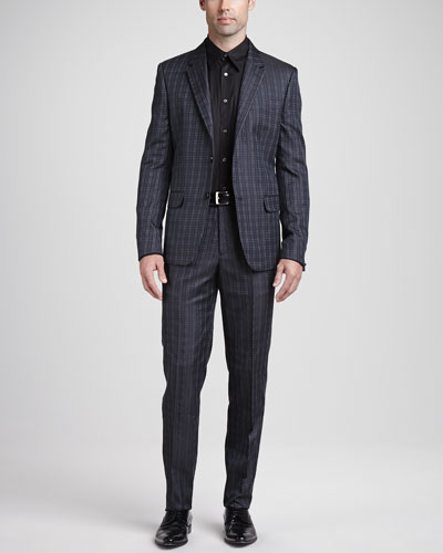 Alexander McQueen Houndstooth Jacquard Jacket, Houndstooth Jacquard Pants & Stretch Poplin Harness Shirt