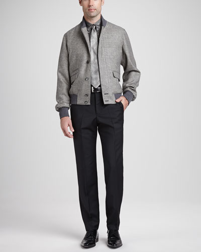 Alexander McQueen Glen Plaid Bomber Jacket, Skull & Dot Short-Sleeve Shirt, Wool/Mohair Dress Pants & Glen Plaid Silk Tie