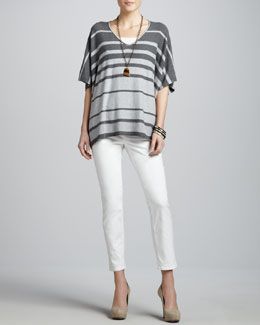 Eileen Fisher Variegated Striped V-Neck Box Top, Slim Tank & Skinny Ankle Jeans, Petite