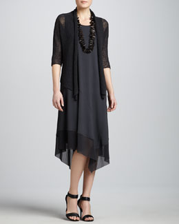Eileen Fisher Cropped Dolman-Sleeve Cardigan & Asymmetric Sheer-Hem Dress, Women's