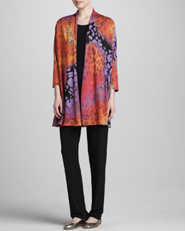 Caroline Rose Kaleidoscope-Print Cardigan, Tunic-Length Tank & Stretch-Knit Slim Pants