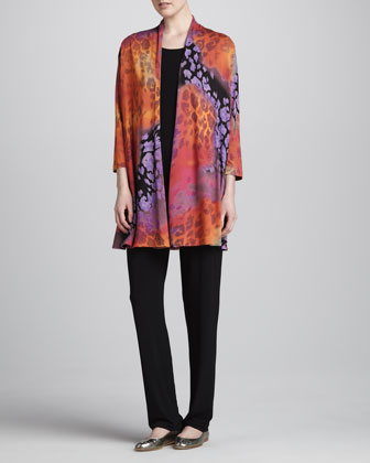 Kaleidoscope-Print Cardigan, Tunic-Length Tank & Stretch-Knit Slim Pants, ...
