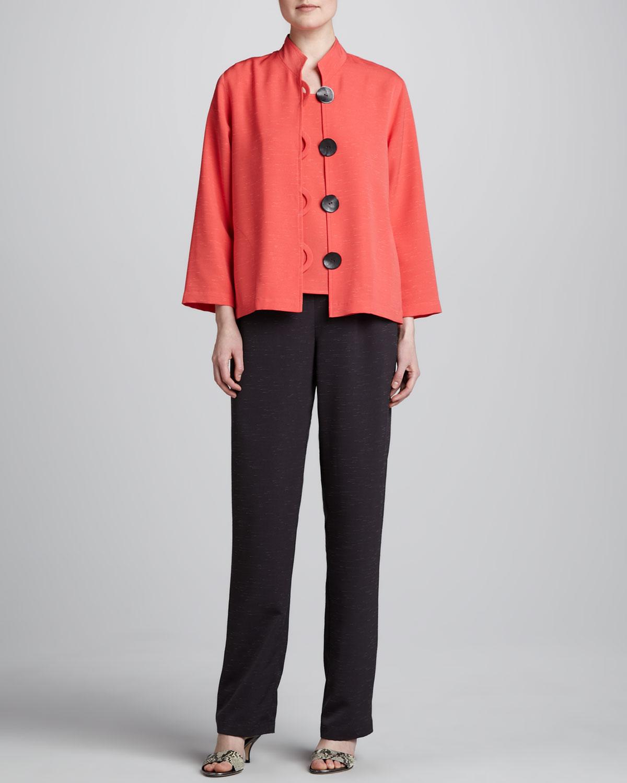 Button-Front Shantung Jacket, Shantung Tank & Shantung Straight-Leg Pants, Petite