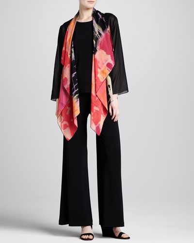 Caroline Rose Waterfall Printed Georgette Jacket, Stretch-Knit Long Tank & Stretch-Knit Wide-Leg Pants
