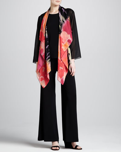 Caroline Rose Waterfall Printed Georgette Jacket, Long Tank & Stretch-Knit Wide-Leg Pants, Petite