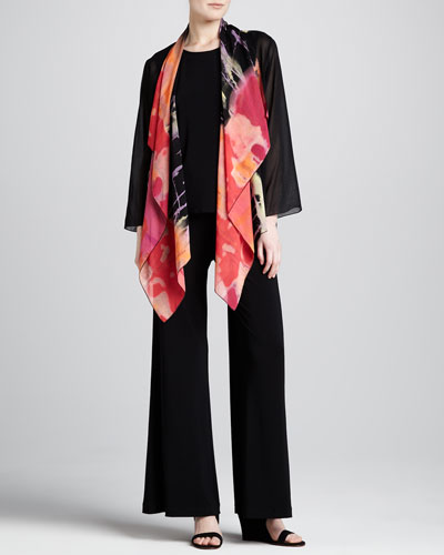 Caroline Rose Waterfall Printed Georgette Jacket, Long Tank & Stretch-Knit Wide-Leg Pants, Women's