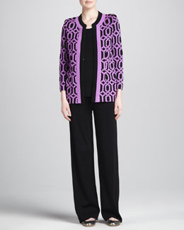 Misook Collection Carlotta Chain-Print Knit Jacket, Amy Tank & Carlotta Wide-Leg Pants