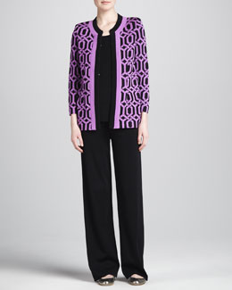 Misook Collection Carlotta Chain-Print Knit Jacket, Amy Tank & Carlotta Wide-Leg Pants, Women's