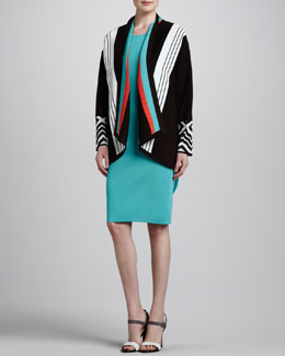 Misook Nina Striped Cardigan & Joan Sleeveless Knit Dress