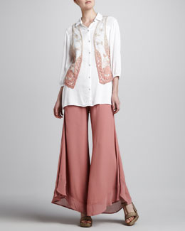 XCVI Boho Vest, Snap-Front Shirt & Collette Wide-Leg Pants