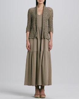 Joan Vass Tape Yarn Knit Cardigan & Tiered Long Tank Dress