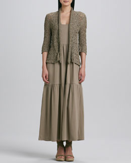 Joan Vass Tape Yarn Knit Cardigan & Tiered Long Tank Dress, Petite