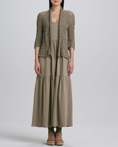 Joan Vass Tape Yarn Knit Cardigan & Tiered Long Tank Dress, Women's