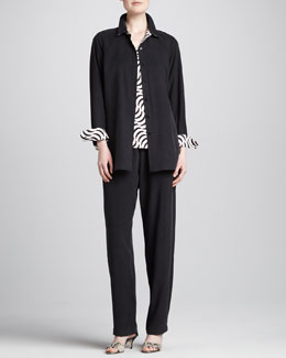 Go Silk Button-Front Shirt, Tank & Straight-Leg Pants