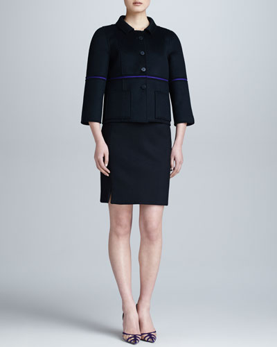 Ralph Rucci Single-Sliver Bonded Jacket & Cashmere Pencil Skirt
