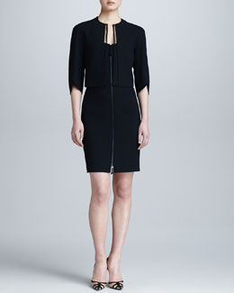 Ralph Rucci Crepe Shrug & Zip-Front Illusion-Back Dress