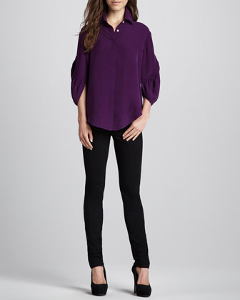 Adele Bishop-Sleeve Blouse & Leather-Piped Ponte Pants