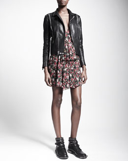 Saint Laurent Zip-Trim Leather Biker Jacket & Floral-Print V-Back Dress