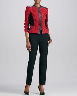 Magaschoni Textured Jacquard Leather-Trim Jacket & Wool Straight-Leg Pants