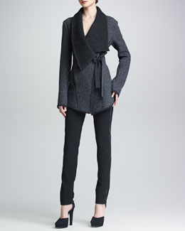 Donna Karan Draped Jacket with Ribbon Tie, Sleeveless V-Neck Top & Slim Leather-Stripe Pants