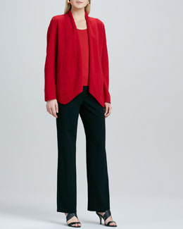 Eileen Fisher Merino-Wool Open Jacket, Silk-Jersey Cap-Sleeve Tee & Ponte Straight-Leg Pants