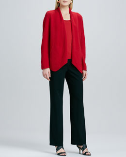 Eileen Fisher Merino-Wool Open Jacket, Silk-Jersey Cap-Sleeve Tee & Ponte Straight-Leg Pants, Petite