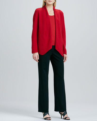 Merino-Wool Open Jacket, Silk-Jersey Cap-Sleeve Tee & Ponte Straight-Leg Pants, Petite