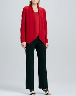Eileen Fisher Merino-Wool Open Jacket, Silk-Jersey Cap-Sleeve Tee & Ponte Straight-Leg Pants, Women's