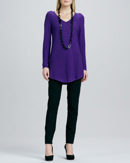 Eileen Fisher V-Neck Wool Sweater & Ponte Skinny Ankle Pants