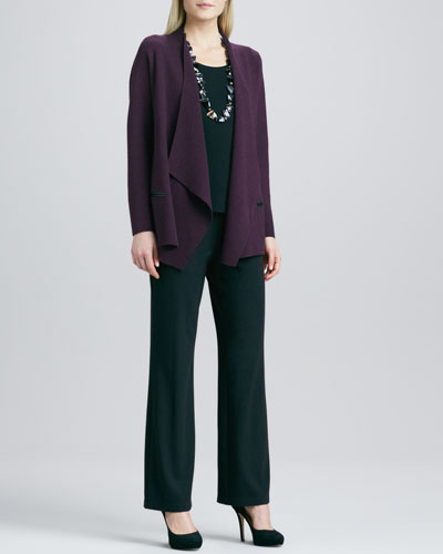Eileen Fisher Angled Open-Front Cardigan, Silk-Jersey Cap-Sleeve Tee & Straight-Leg Ponte Pants, Petite