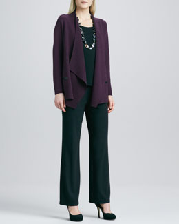 Eileen Fisher Angled Open-Front Cardigan, Silk-Jersey Cap-Sleeve Tee & Straight-Leg Ponte Pants, Women's