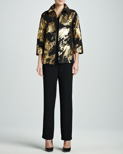 Caroline Rose Abstract Painterly Printed Jacket, Long Tank & Straight-Leg Pants